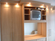 Lights on a fitted wardrobe and dressing table